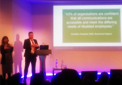 Adam Pearce of Sonocent delivering presentation on Audio Notetaker