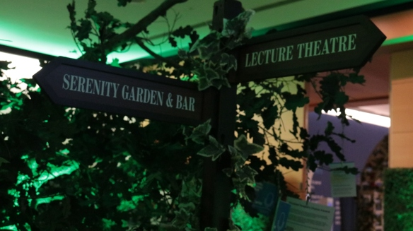 Signs to the Serenity Garden & Bar as well as the Lecture Theatre