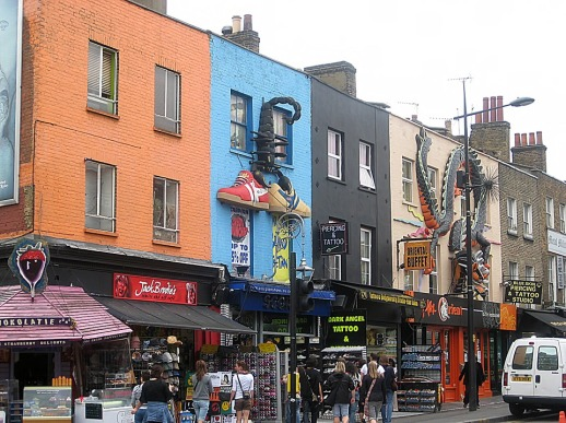 Colourful shop fronts in Camden, London