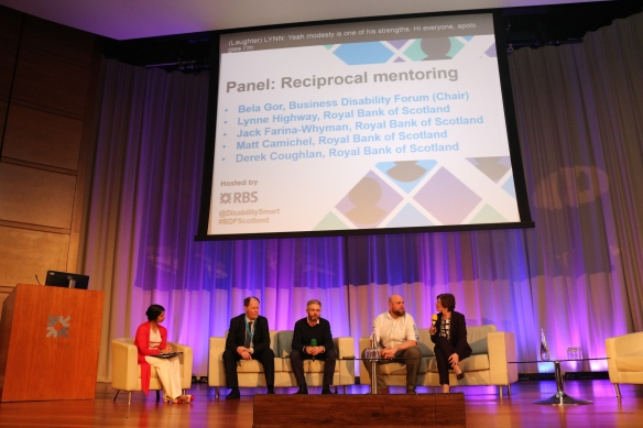 Bela Gor, Business Disability Forum chaired the panel with Lynne Highway, HR Director Services and Functions and Jack Farina-Whyman, Reference Data Manger as well as Matt Camichel, Head of Enterprise Solutions and Derek Coughlan, IT Technical Lead on stage