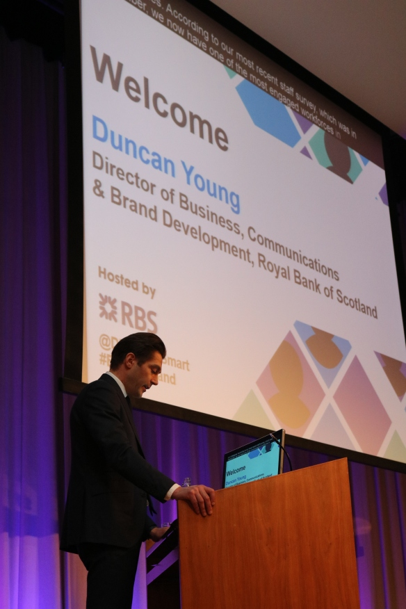 Duncan Young, Director of Business Communications at RBS on stage