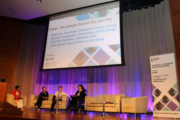 Bela Gor, Head of Campaigns and Legal Business Disability Forum with panellists Dr Aurora Constantin, Research Associate at University of Edinburgh, John Brady, Customer Manager at RBS and Caroline Eglinton, Access and Inclusion Manager at Network Rail