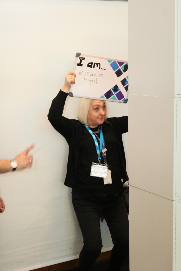 "Business Disability Forum posted a photo booth at the event to further bring to life the theme of ""Disability in Scotland: exploring identity"". People wrote in one word answer who they are with the caption above ""I am"""