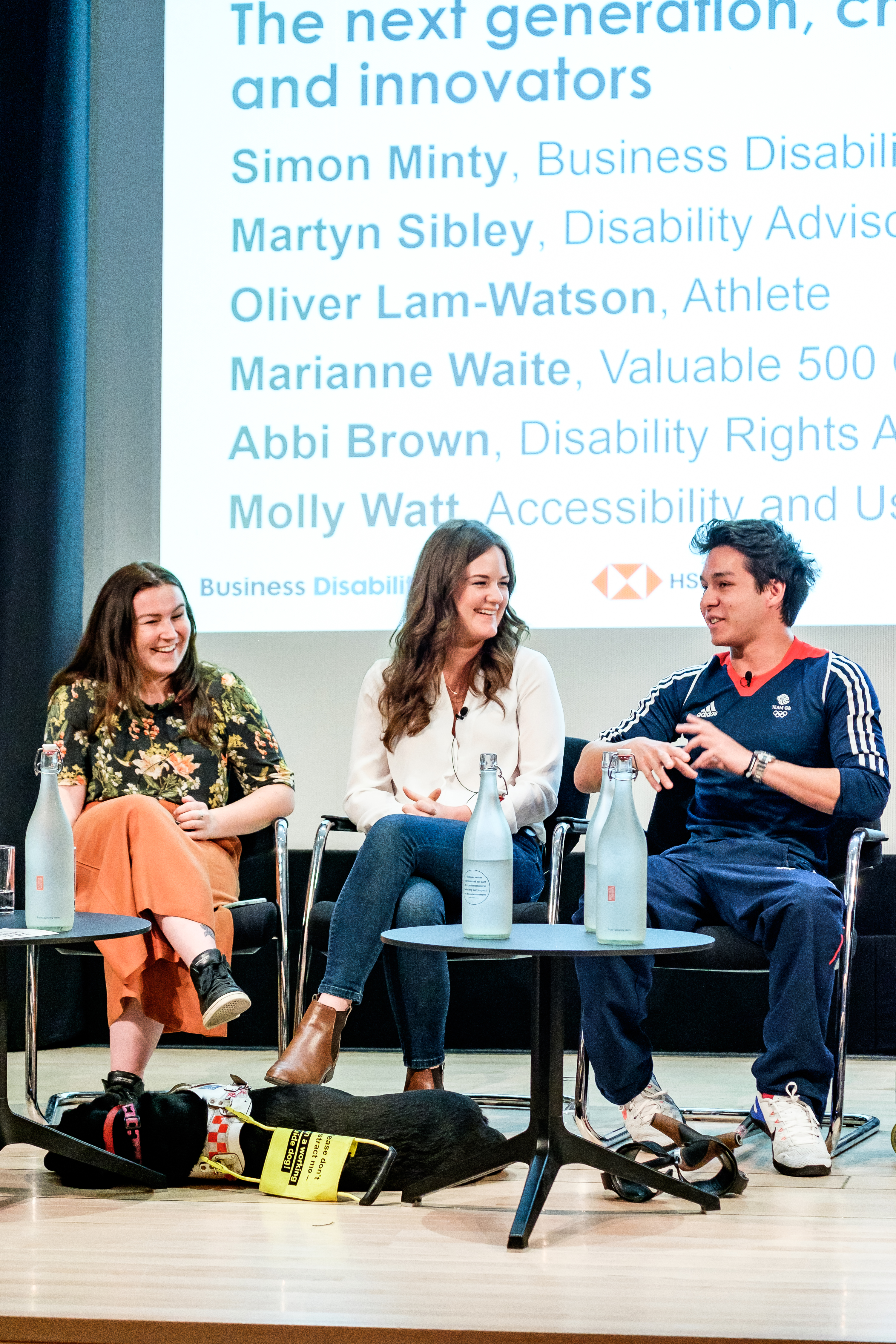 Molly Watt, Marianne Waite and Oliver Lam-Watson, panellists, they are smiling
