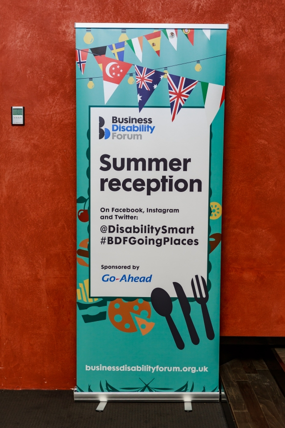 A colourful banner for Business Disability Forum's summer reception 2019